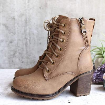 Plus Size Vintage Leather Chunky Heel Martin Boots
