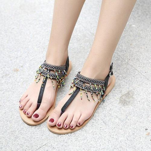 Women Tassel Pu Flat Heel Casual Summer Sandals