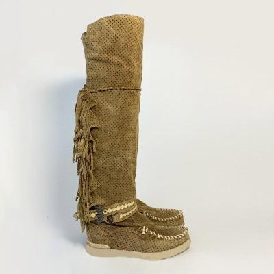 Fringe Flat Heel Long Boots Buckle Strap Knee-High Tassel Boots