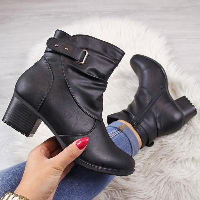 Women Casual Daily Adjustable Buckle Ankle Boots