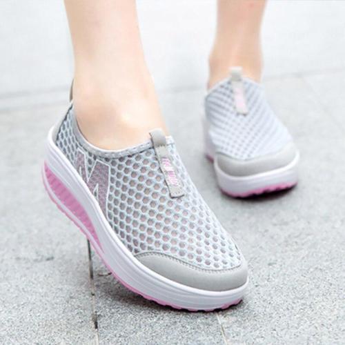 Flat Women's Shoes Spring Autumn Slip-on Ladies Air Mash Platform Sneaker Breathable Soft Women's Tennis Female Sport Shoes