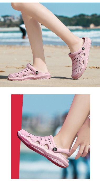 2019 Summer Women Slippers Flat Beach Slippers Holes Summer Women Shoes Soft Comfortable Sweet Pink Shoes A882