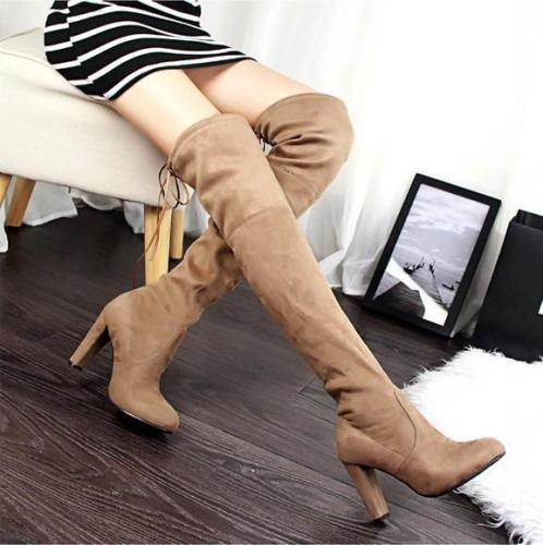 Slim Elastic Suede High Heeled Thigh High Boots 9558
