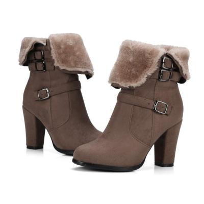 Autumn Winter Short Boots Thick Heel Large Size Women's Ankle Boots