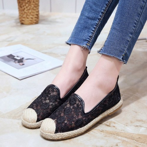 Women Flats Shoes 2019 Loafers Hollow Lace Flat Shoes Shallow Casual Women Flats Shoes Chaussures Femme Black