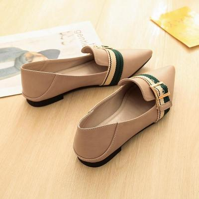 Korean New Foot Single Shoes Sexy Pointed Belt Buckle Flat Color Casual Flat Pregnant Women Soft Soles Shoes YX0024