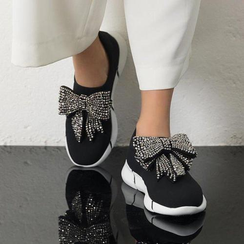 Autumn Fashion Glitter Bowknot Slip On All Season Sneakers
