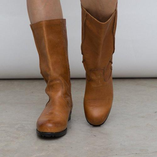 Artificial Leather Slip-On Round Toe Mid-Calf Boots