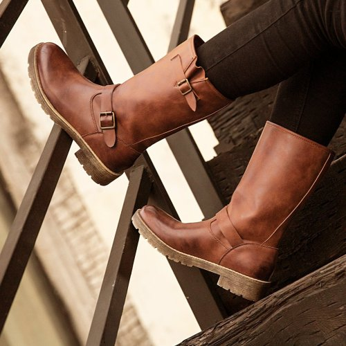 Women's  Low Heel Button vintage Boots