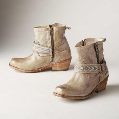 Leather Low Heel Boots