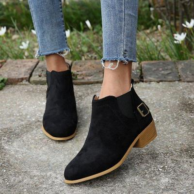 Chunky Heel Buckle Decorative Slip-on Ankle Boots