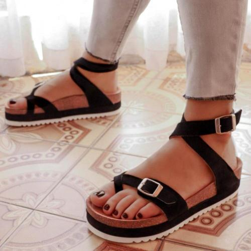 Cuteshoeswear CuteshoeswearLitthing Women Sandals 2020 Summer Shoes Peep Toe Solid Color Buckle Strap Platform Sandalias Mujer Black Khaki Shoes