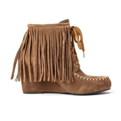 Women Lace-Up Winter Tassel Suede Boots