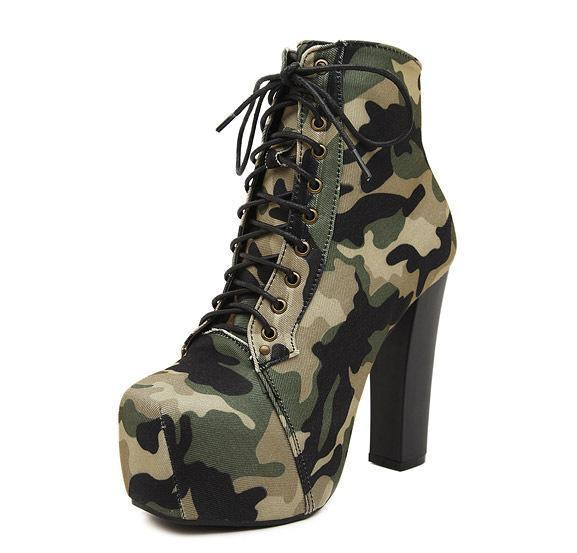 Camouflage Lace Up Platform Ankle Boots High Heels 6927