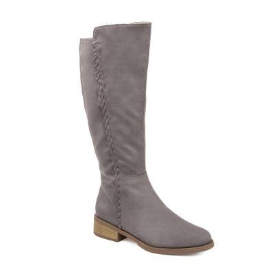 Women Round Toe Artificial Suede Zipper Winter Chunky Heel Mid-Calf Boots