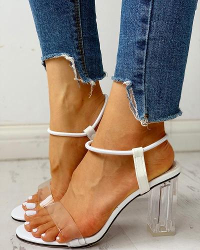 Ankle Strap Transparent Chunky Heeled Sandals