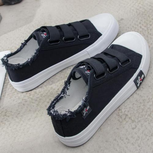 cuteshoeswearDropshipping Sneakers Canvas Shoes for Women Fashion 2019 Solid Superstar Hook Loop Vulcanize Girls Zapatillas Mujer Shoes