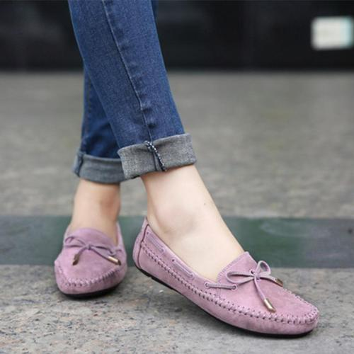 Womens Flats Casual Bowtie Loafers Sweet Ladies Candy Colors Flats Solid Spring Shoes Woman Moccasins Female Footwear Plus Size