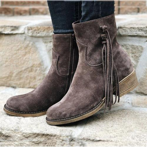 Fringe Ankle Boots Slip-On All Season Womens Boots