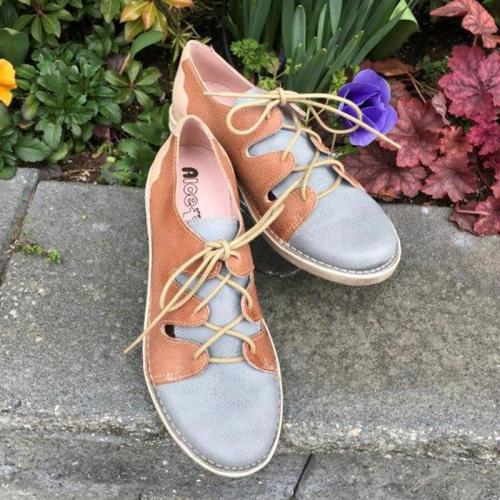 Woman Color Block Split Joint Lace-up Low Heel Sneakers Loafers