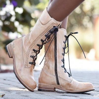 Women Vintage Lace-Up Low Heel Boots