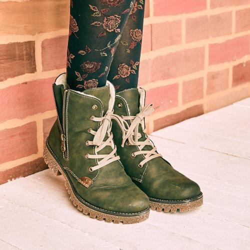 Zipper Green Winter Boots