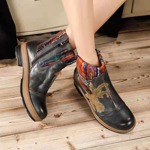 Ethnic Style Embroidery Chunky Heel Round Toe Martin Boots
