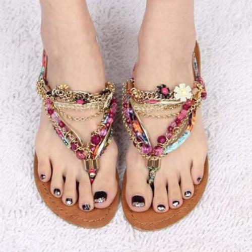 Rhinestone Summer Casual Sandals Flip-flops Boho Beach Thongs Shoes