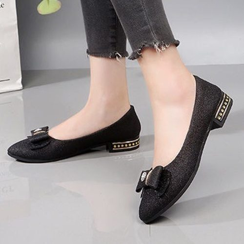 Shoes Women Flats 2019 Fashion Butterfly Knot Loafers Women Low Heel Flat Shoes Casual Slip On Boat Shoes Flats