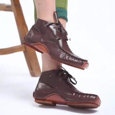 Flat Heel Lace-Up Round Toe Ankle Boots Women's Comfortable Shoes