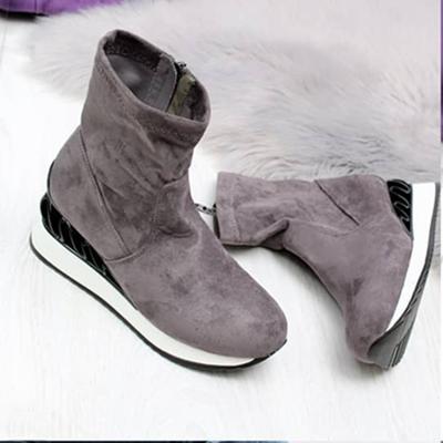 Wedge Platform Comfy Faux Suede Zipper Boots All Season Shoes