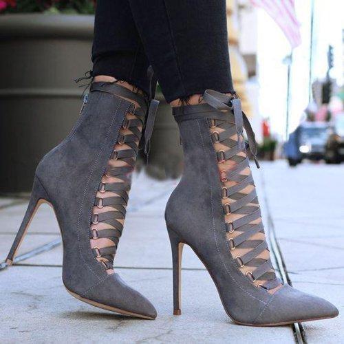 Fashion Sharp Head High Heel Short Boots