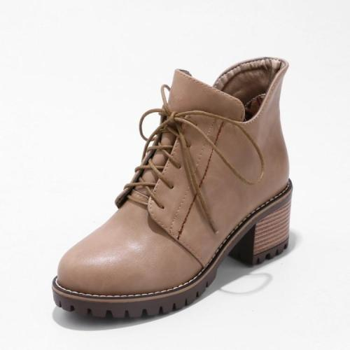 Women's Ankle Boots Lace Up Short Boots Shoes