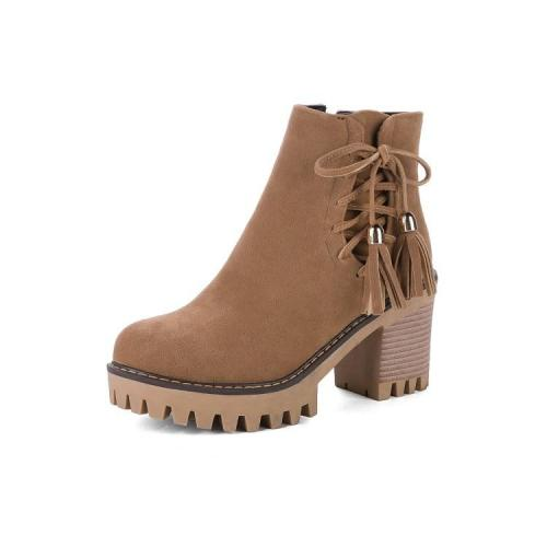 Women Shoes Tassel High Heel Plus Size Platform Short Boots
