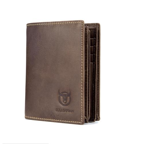 Bullcaptain Genuine Leather Short Wallets Vintage Card Holder 115344