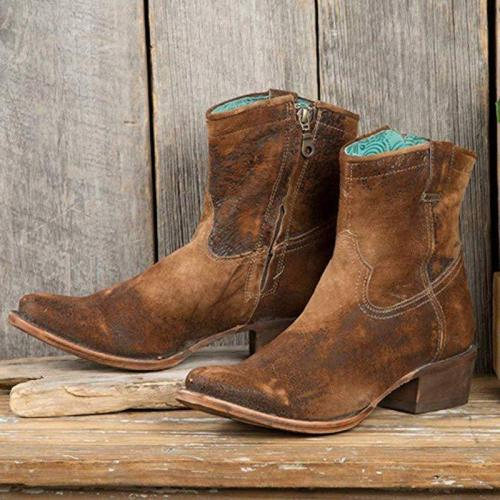 Zipper Ankle Boots Chunky Heel Short Western Boots