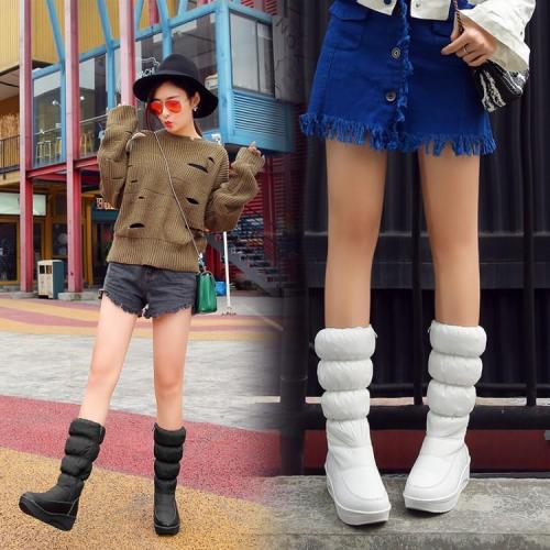 Down Thicken Zipper Cotton Wedge Heel Tall Boots for Women 2486