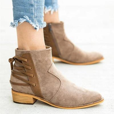 Plus Size Back Lace Suede Zipper Chunky Heel Ankle Booties