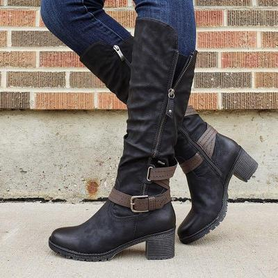 Ruched Leather Buckle Strap Zipper Low Heel Dress Boots