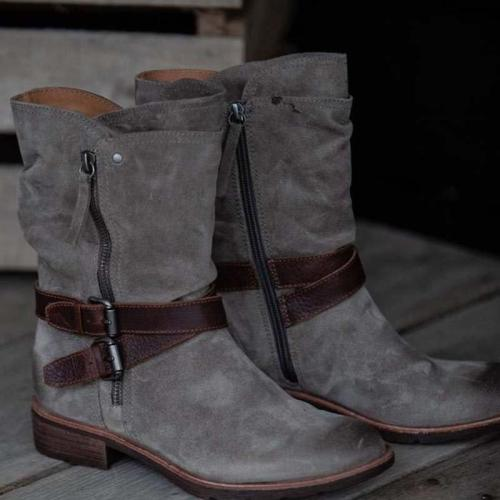 Buckle Mid-Calf Boots Womens Zipper Block Heel Boots