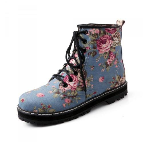 Lace Up Flower Printed Short Boots Plus Size Women Shoes 5610