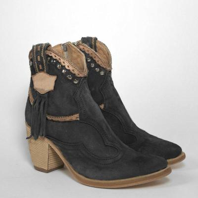 Chunky Heel Faux Suede Rivet Boots Fringe Ankle Boots