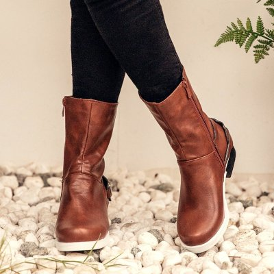 Low Heel Artificial Leather Zipper Fall Boots Vintage Booties