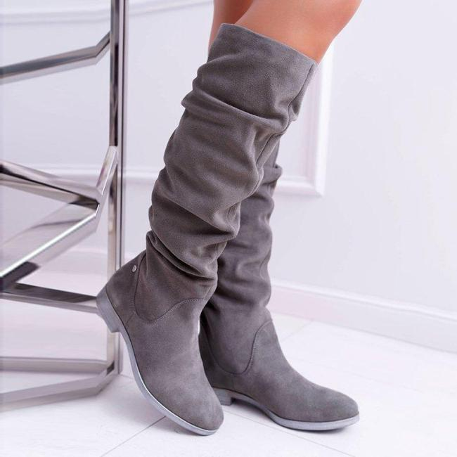 Ruffles Gray Faux Suede Slip On Knee Boots