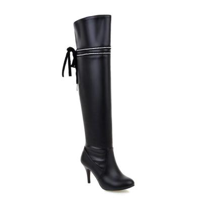 Rhinestone Bowtie High Heels Over the Knee Boots for Women 5817