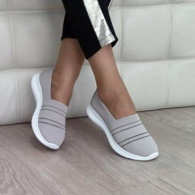 Women Slide Fabric All Season Flat Heel Sneakers