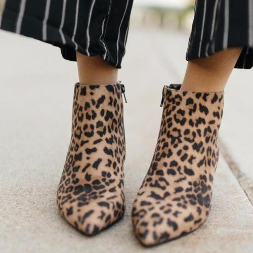 Leopard Closed Toe Chunky Heel Low (<3Cm) Women Boots