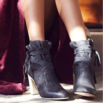 Fashion Tassel Chunky Heel Artificial Leather Spring/fall Boots
