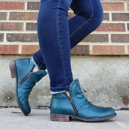 Zipper All Season Artificial Leather Low Heel Boots