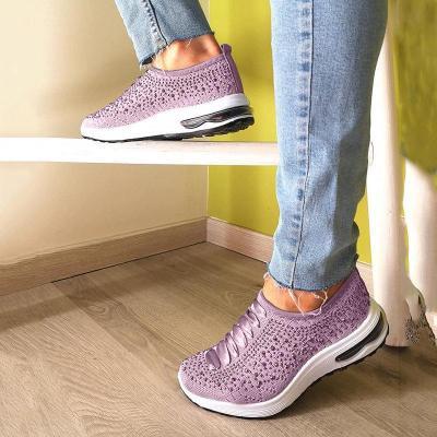 Women Slip-On Low Heel Rhinestone Sneakers Plus Sizes